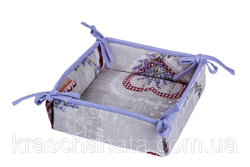 Хлебница, Лаванда Сердце размер 25х25см, Оригинальные подарки, Домашний текстиль текстиль