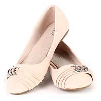 Женские балетки розовые с брошью