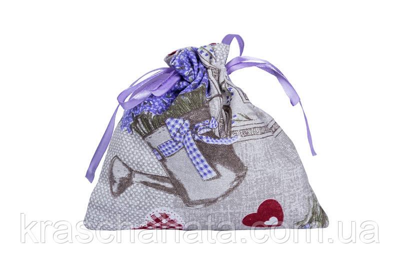 Мешочек для ароматических трав (саше), Лаванда Сердце, Оригинальные подарки, Домашний текстиль текстиль