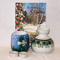Подарочный набор 8 Марта Вазочка + Аромалампа + Ландыши + открытка