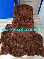 Покрывало плед травка пушистое бамбуковые волокна с длинным ворсом 220х240 Koloco исскуственный мех. Шоколад.