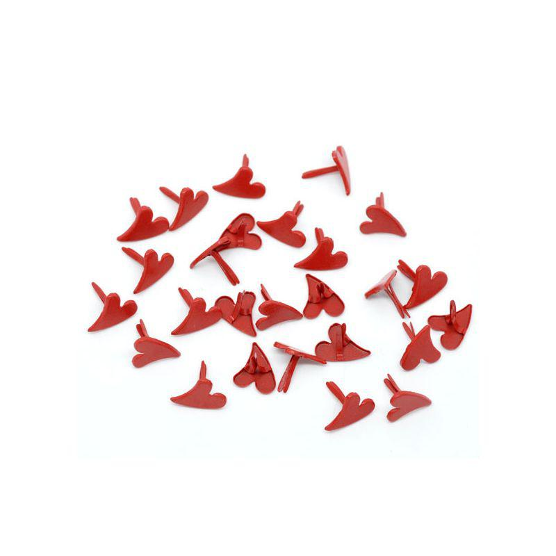 Брадсы сердечки для рукоделия 12мм красные 10шт в наборе