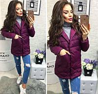 3b9a4865ba36 Новинка стильная женская удлиненная стеганная куртка пиджак на кнопках  холлофайбер сирень 42 44 46