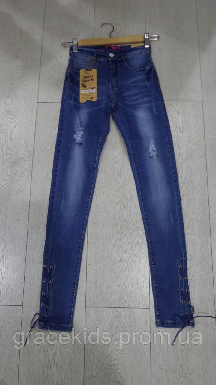 Подростковые джинсы для девочек со шнуровкой