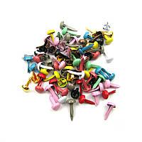 Брадсы для рукоделия 4мм разные цвета 25шт в наборе, фото 1