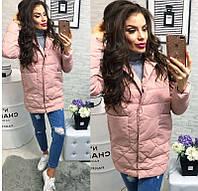 Новинка стильная женская удлиненная стеганная куртка пиджак на кнопках холлофайбер пудра 42 44 46