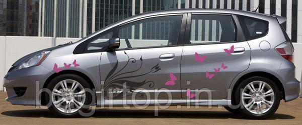 Виниловая наклейка на авто - на дверь Узор цветок и бабочки
