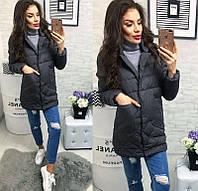 Новинка стильная женская удлиненная стеганная куртка пиджак на кнопках холлофайбер темно-серая 42 44 46