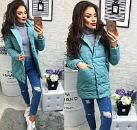 Новинка стильная женская удлиненная стеганная куртка пиджак на кнопках холлофайбер голубая 42 44 46