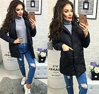 Новинка стильная женская удлиненная стеганная куртка пиджак на кнопках холлофайбер черная 42 44 46