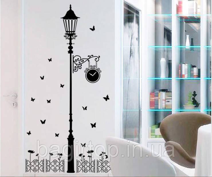 Интерьерная наклейка на стену Фонарь и бабочки