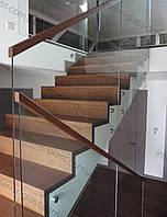 Стеклянное ограждение лестницы, стеклянные перила