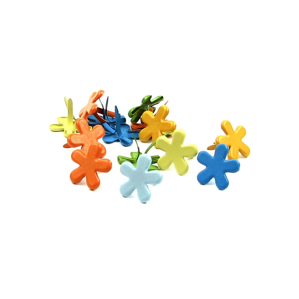 Брадсы цветочки для рукоделия 15мм разные цвета 10шт в наборе