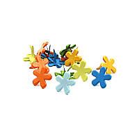 Брадсы цветочки для рукоделия 15мм разные цвета 10шт в наборе, фото 1