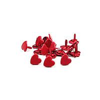 Брадсы сердечки для рукоделия 8мм красные 10шт в наборе