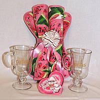 Подарок любимой женщине 8 Марта Пара чашек + Пара салфеток + валентинка