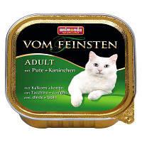 """Консервы Vom Feinsten """"С индейкой и кроликом"""" 11,5/4,7 (для взрослых котов и кошек), 100г"""