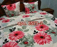 Комплект постельного БЯЗЬ оптом и в розницу, Розовые герберы на сером 0571-2
