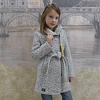 """Кашемировое пальто """"Косушка-букле""""(серый), фото 1"""