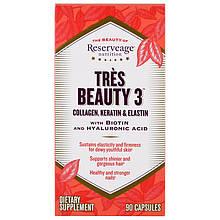 """ReserveAge Nutrition, """"Тройная Красота 3"""" Tres Beauty 3 Коллаген, Кератин и Эластин, 90 капсул"""