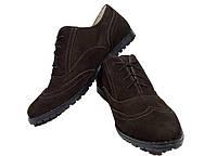 """Туфли женские комфорт натуральная кожа """"нубук"""" коричневые на шнуровке Юлиана (122кн)"""