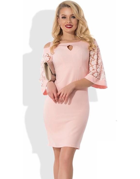 0ead1252d86 Нежно-розовое платье с рукавами пелеринами Д-465 - Lace Secret - Магазин  женского