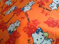 Махровая ткань оранжевого цвета «Kitty-bear»