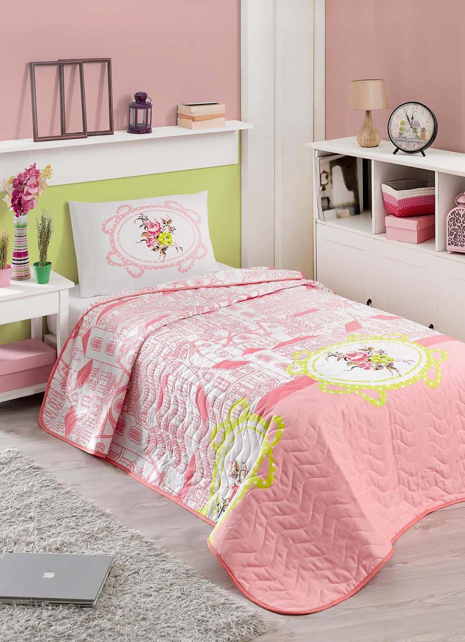 Покрывало стеганное с наволочками Eponj Home - Sirin pembe розовый 200*220