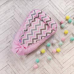 Кокон гнездышко для малыша, indigo розовый