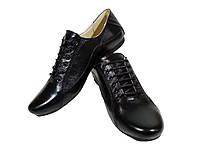 Туфли женские комфорт натуральная кожа черные на шнуровке (19чк)