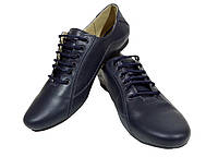 Туфли женские комфорт натуральная кожа синие на шнуровке (19ск), фото 1