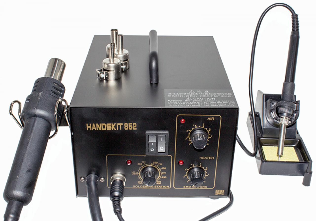 Паяльная станция HandsKit 852 термофен и паяльник 2в1 (EXtools) компрессорная