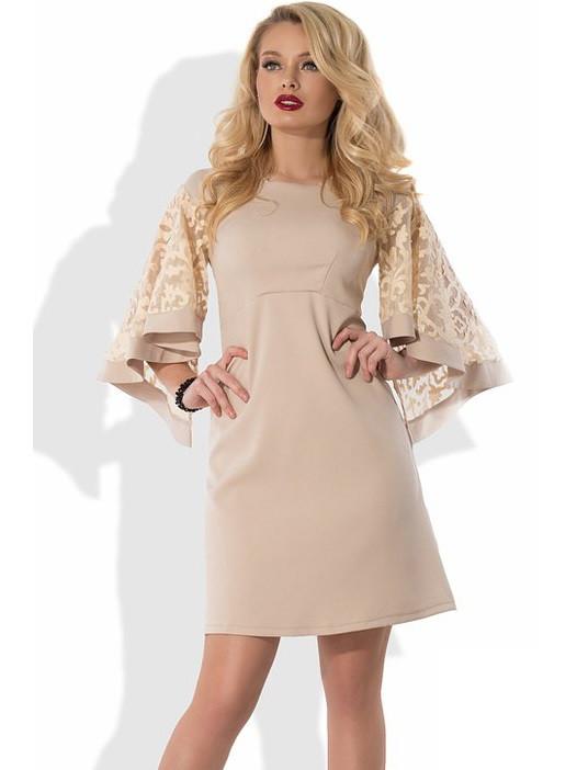 964ba6c5bff Бежевое Платье с Пышными Рукавами Д-427 — в Категории