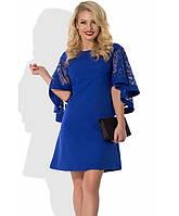 Синее платье с пышными рукавами Д-436