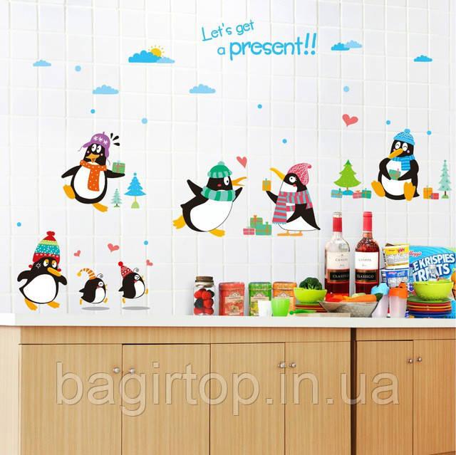Интерьерная наклейка на стену Пингвины