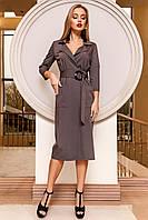 Элегантное Платье на Запах с Большими Карманами Серое S-XL
