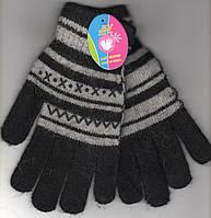 Перчатки женские-подросток шерстяные 1-ные Jian Pai, полоска, чёрные