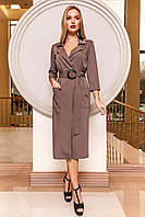 Элегантное Платье на Запах с Большими Карманами Коричневое S-XL