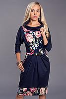 Платье женское мод 442-1 ,размер  52 синее