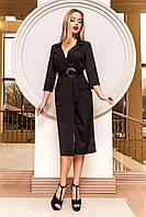 Элегантное Платье на Запах с Большими Карманами  Черное S-XL
