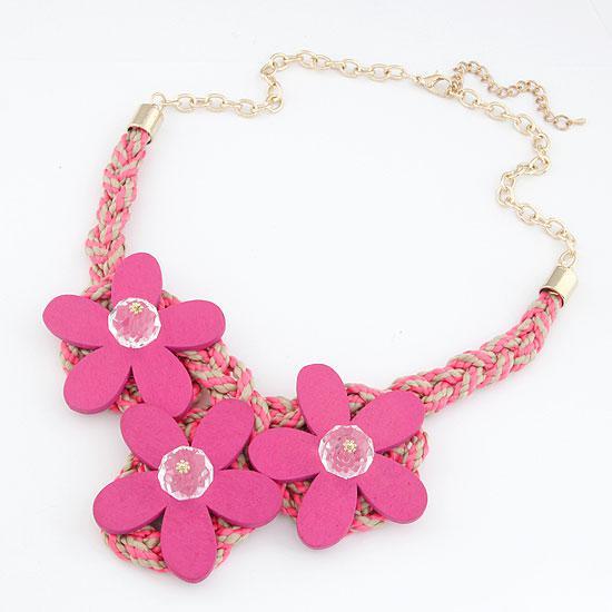 Колье Цветы ярко-розовые  P003601