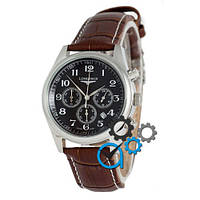 Часы мужские Longines quartz Chronograph Silver/Black
