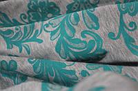 Ткань французкий трикотаж меланжевый серый с накаткой мятные цветы, фото 1