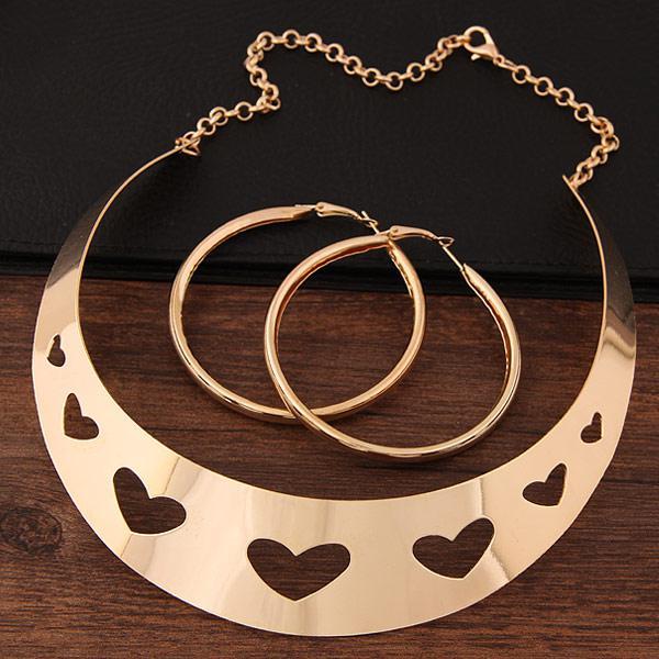 Набор бижутерии колье + серьги-кольца золото  P009061