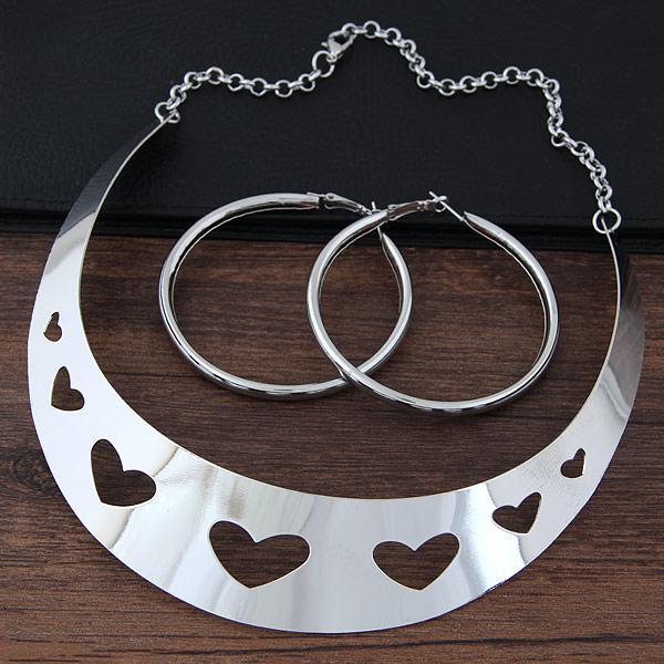 Набор бижутерии колье + серьги-кольца золото  P009062