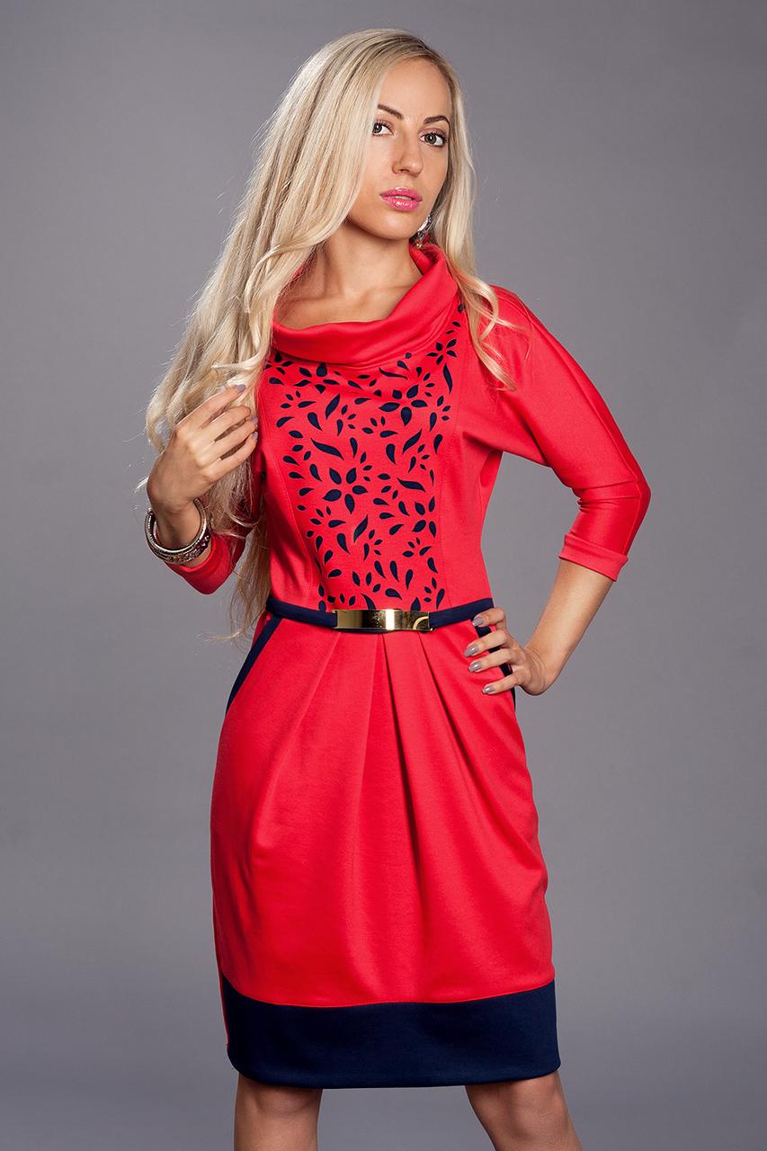 Платье женское мод 441-4 ,размер 52 коралл