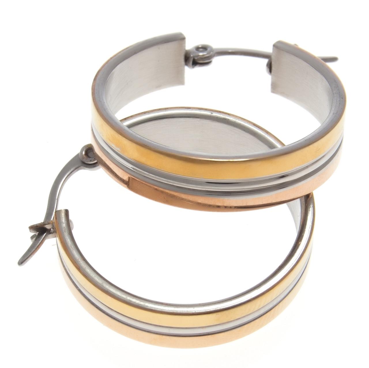Серьги кольца под серебро с золотыми вставками  S001011