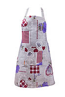 Фартук, Лаванда Сердце, размер 60х75см, Оригинальные подарки, Домашний текстиль текстиль