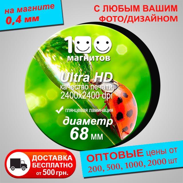 Изготовление фотомагнитов. Рекламный магнит на холодильник. Диаметр 68 мм