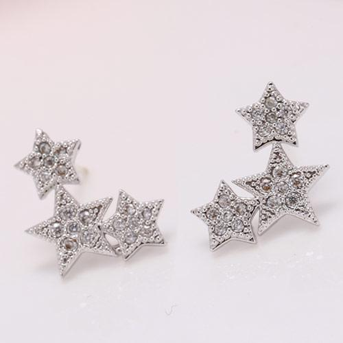 Сережки созвездие с камнями под серебро S003498